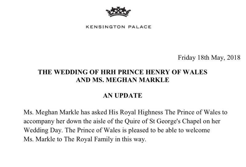 Este oficial! Meghan Markle va fi condusa la altar de Printul Charles