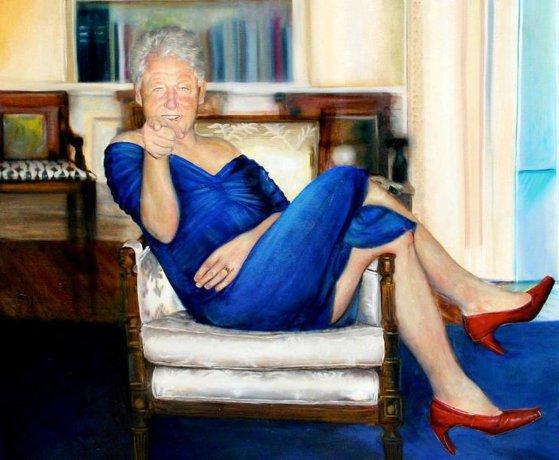 Bill Clinton, îmbrăcat în rochie într-un tablou bizar