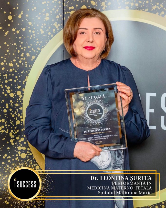 """Dr. Leontina Şurtea a primit premiul pentru ,,Performanţă în medicina materno-fetală"""" în cadrul Spitalului MaDonna Maria"""