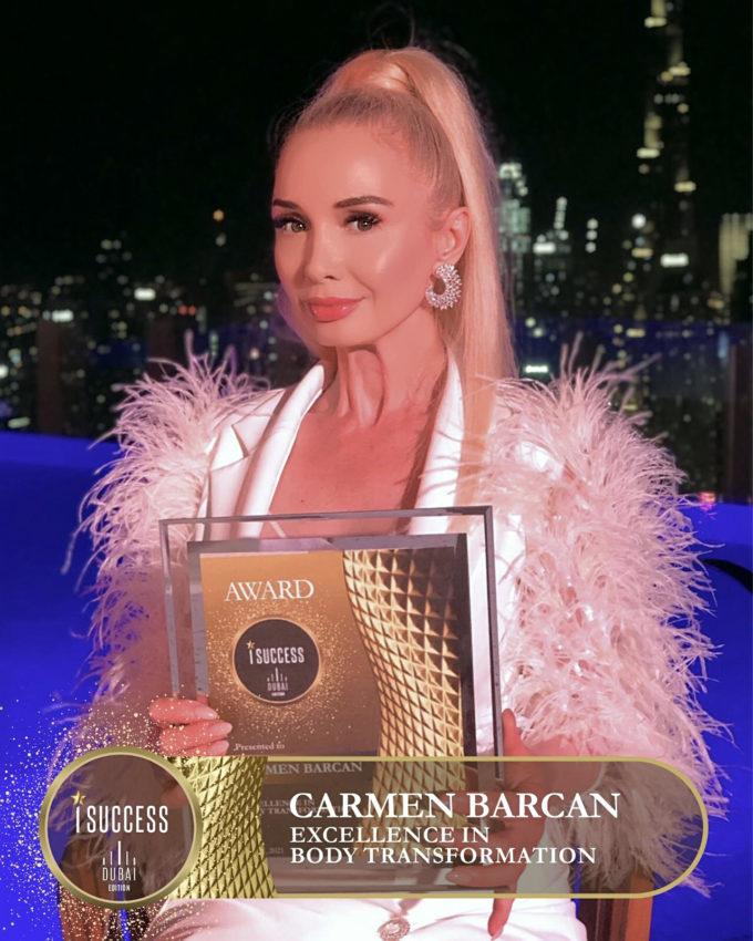 "Carmen Barcan a primit premiul pentru ,,Excellence in body transformation"""