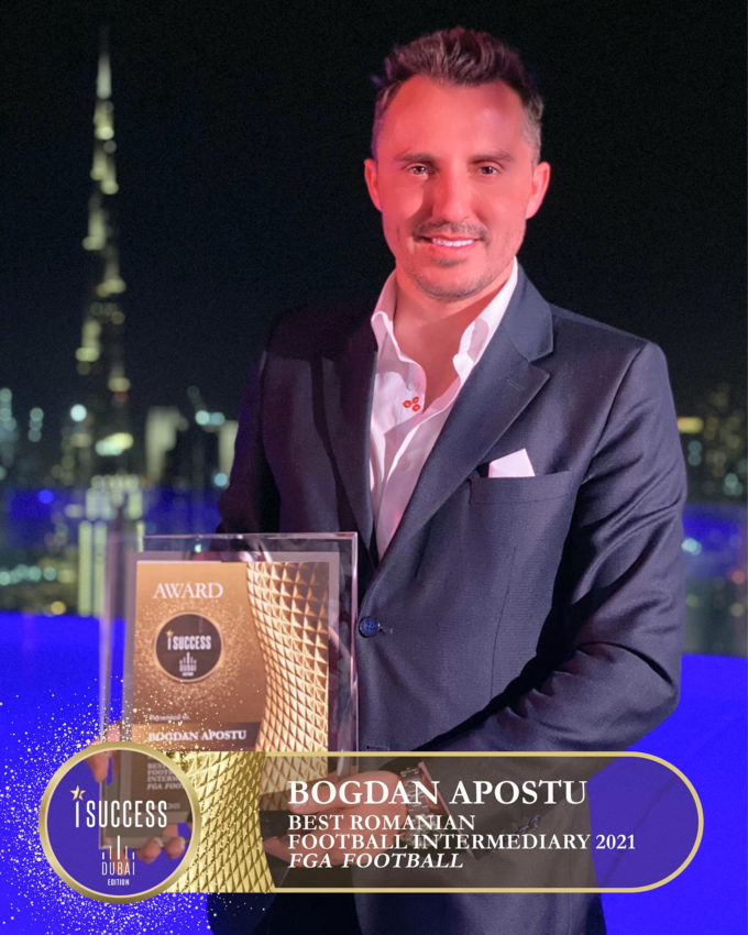 Bogdan Apostu a primit premiul pentru ,,Best romanian football intermediary 2021″ – FGA Football
