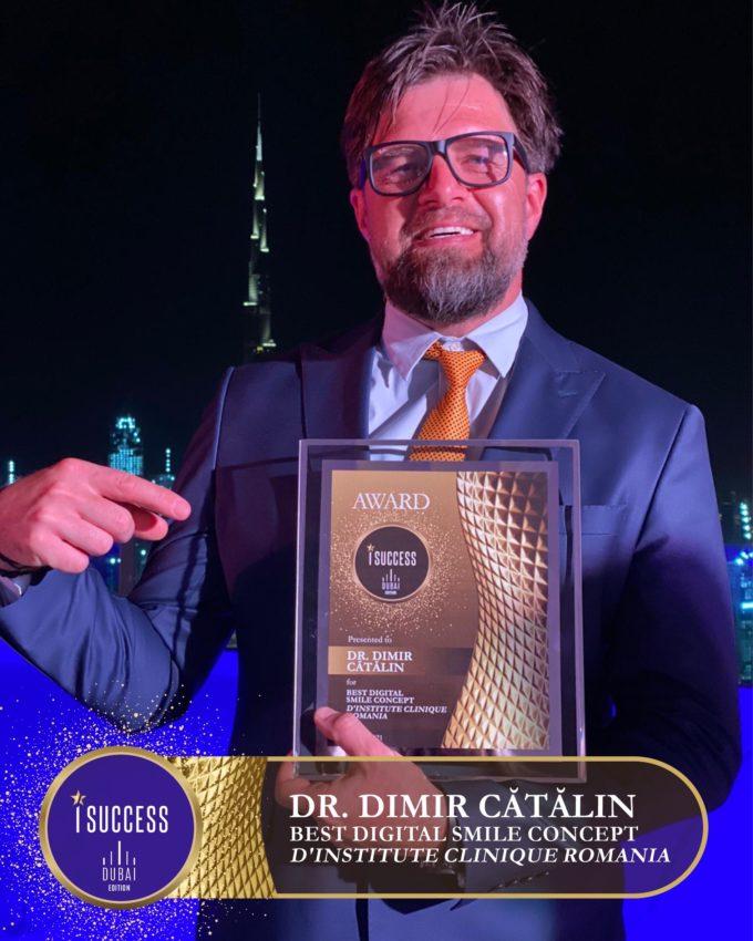 """Dr. Dimir Cătălin a primit premiul pentru ,,Best Digital Smile Concept – D'Institute Clinique""""- România"""