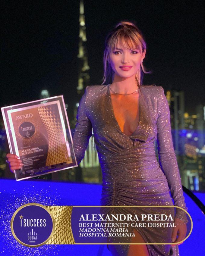 "Alexandra Preda a primit premiul pentru ,,Best Maternity Care Hospital"" MaDonna Maria Hospital Romania"
