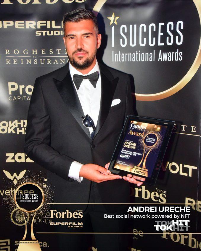 """Andrei Ureche a primit premiul pentru,,Best NFT in Social Media"""" la gala I Success Awards – Cannes Edition"""