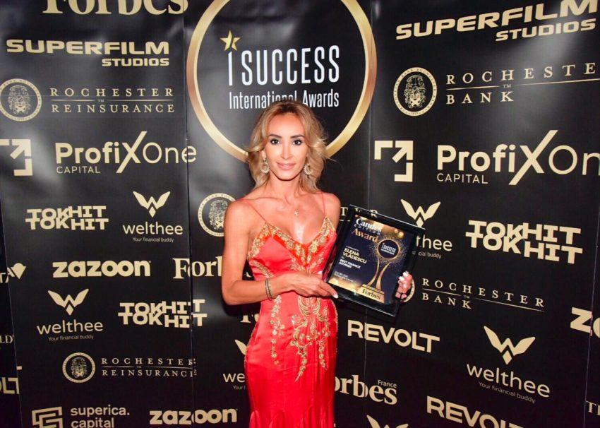 """Elena Vlădescu a primit premiul pentru,,Best Finance Adviser"""" la gala I Success Awards – Cannes Edition"""