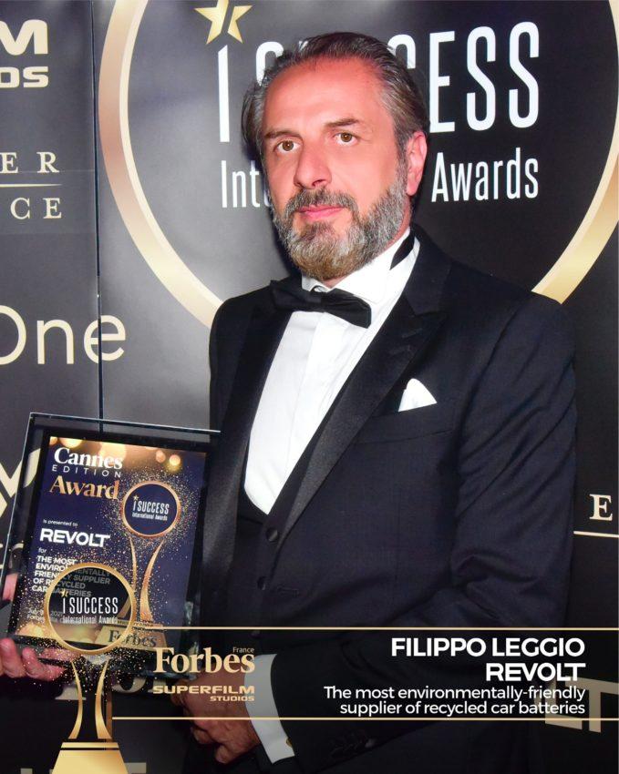 "Filippo Leggio a primit premiul pentru,,The most environmentally-friendly supplier of recycled car batteries"" – ReVolt la gala I Success Awards – Cannes Edition"