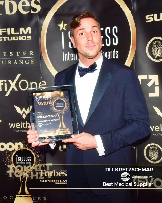 "Till Kretzschmar a primit premiul pentru,,Best Medical Supplier"" – NanoRepro AG la gala I Success Awards – Cannes Edition"